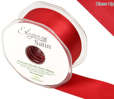 Eleganza Double Faced Satin 38mm x 20m Red No.16 - Ribbons