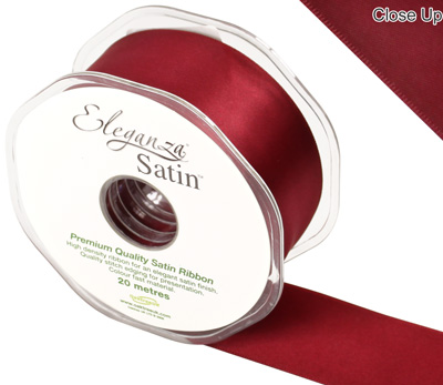 Eleganza Double Faced Satin 38mm x 20m Claret No.31 - Ribbons
