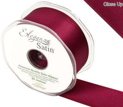 Eleganza Double Faced Satin 38mm x 20m Burgundy No.17 - Ribbons