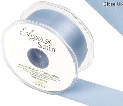 Eleganza Double Faced Satin 38mm x 20m  Lt. Blue No.25 - Ribbons