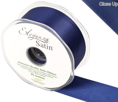Eleganza Double Faced Satin 38mm x 20m Midnight Blue No.19 - Ribbons