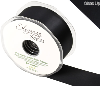 Eleganza Double Faced Satin 38mm x 20m Black No.20 - Ribbons