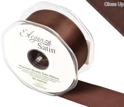 Eleganza Double Faced Satin 38mm x 20m Chocolate No.58 - Ribbons