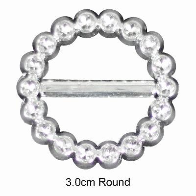 Diamanté Effect Buckles 10pcs - 3cm Round - Accessories