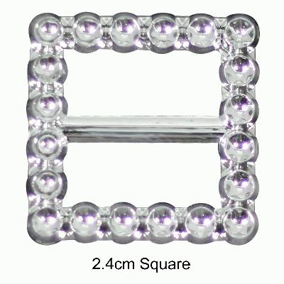 Diamanté Effect Buckles 10pcs - 2.4cm Square - Accessories