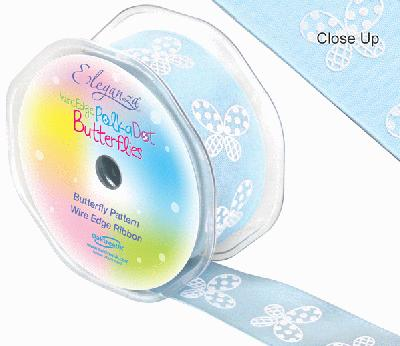 38mm x 10m Wired Polka Dot Butterfly Ribbon - Light Blue - Ribbons