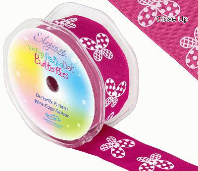 38mm x 10m Wired Polka Dot Butterfly Ribbon - Fuchsia - Ribbons