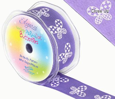 38mm x 10m Wired Polka Dot Butterfly Ribbon - Purple - Ribbons