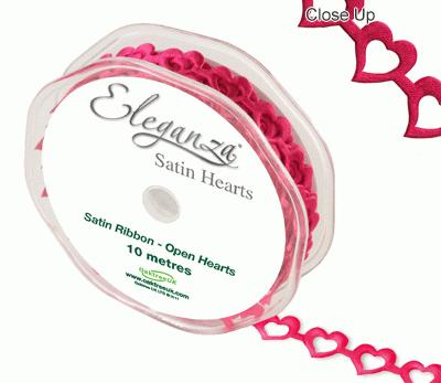 Eleganza Open Satin Hearts 15mm x 10m Fuchsia No.28 - Ribbons