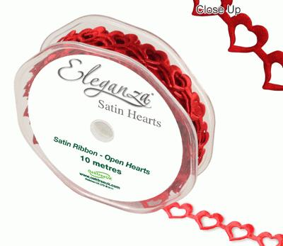 Eleganza Open Satin Hearts 15mm x 10m Red No.16 - Ribbons