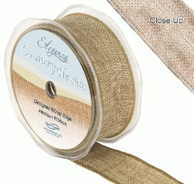 38mm x 10m CountryHessian - Natural - Ribbons