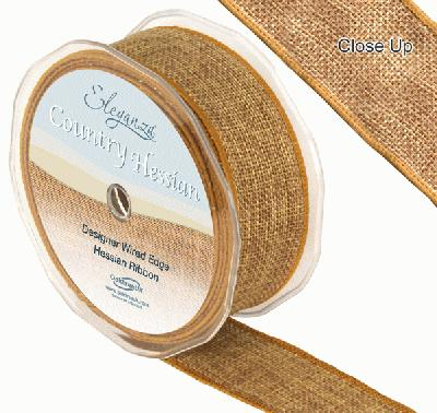 38mm x 10m CountryHessian - Tan - Ribbons