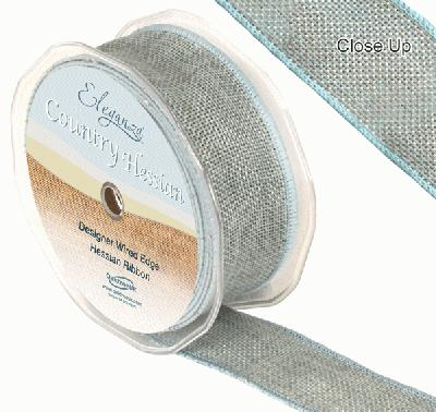 38mm x 10m CountryHessian - Light Blue - Ribbons