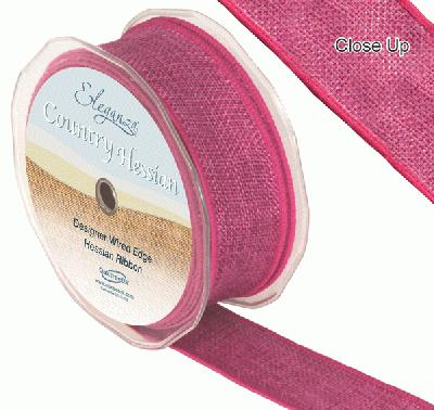 38mm x 10m CountryHessian - Fuchsia - Ribbons