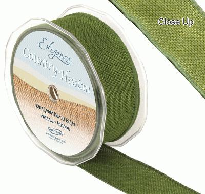 38mm x 10m CountryHessian - Green - Ribbons