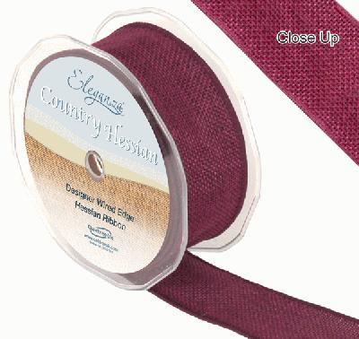 38mm x 10m CountryHessian - Burgundy - Ribbons