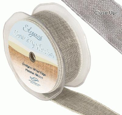 38mm x 10m CountryHessian - Light Grey - Ribbons