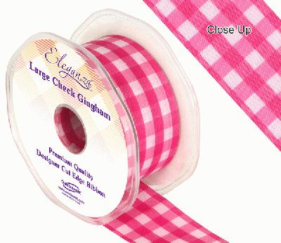 38mm Large Check Gingham Fuchsia - Ribbons