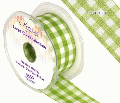 38mm Large Check Gingham Apple Green - Ribbons