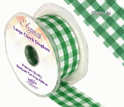 38mm Large Check Gingham Green - Ribbons