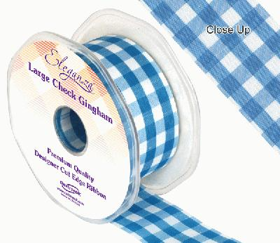 38mm Large Check Gingham Turquoise - Ribbons
