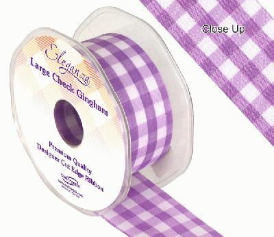 38mm Large Check Gingham Lavender - Ribbons