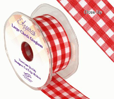 38mm Large Check Gingham Red - Ribbons