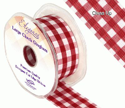 38mm Large Check Gingham Burgundy - Ribbons