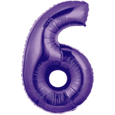 No 6 Purple - Foil Balloons