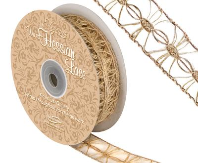 Eleganza Wired Hessian Lace 25mm x 10m - Ribbons