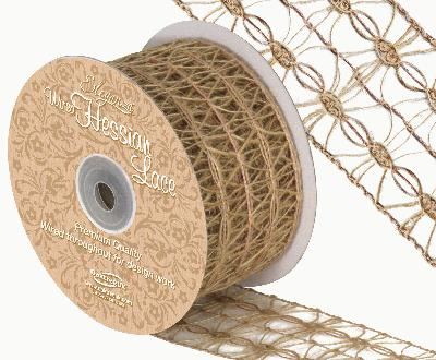 Eleganza Wired Hessian Lace 50mm x 10m - Ribbons