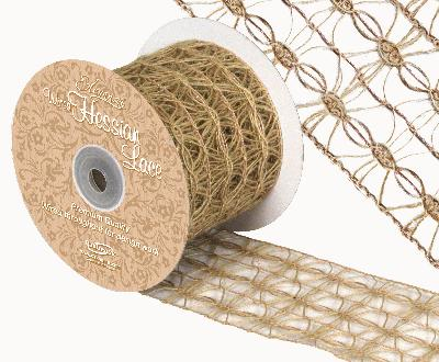 Eleganza Wired Hessian Lace 70mm x 10m - Ribbons