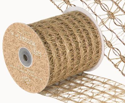 Eleganza Wired Hessian Lace 100mm x 10m - Ribbons