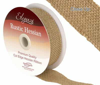 Eleganza Rustic Hessian Cut Edge 32mm x 9.1m Natural No.02 - Ribbons