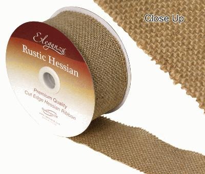 Eleganza Rustic Hessian, Cut edge - Natural - 50mm x 9.1m - Ribbons