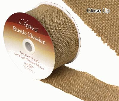 Eleganza Rustic Hessian, Cut edge - Natural - 70mm x 9.1m - Ribbons