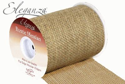 Eleganza Rustic Hessian Cut Edge 15.2cm x 9.1m Natural No.02 - Ribbons
