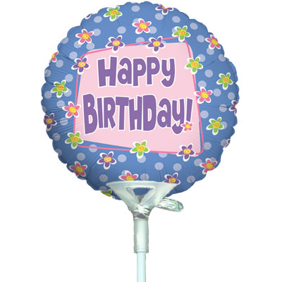 4inch Birthday Flower Pot Dots - Foil Balloons