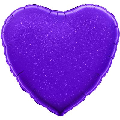 Oaktree 18inch Purple Holographic Heart - Foil Balloons