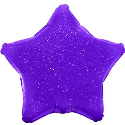 Oaktree 19inch Purple Holographic Star (Flat) - Foil Balloons