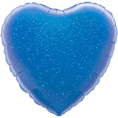 Oaktree 18inch Blue Holographic Heart (Flat) - Foil Balloons