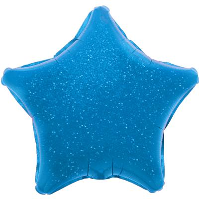 Oaktree 19inch Blue Holographic Star (Flat) - Foil Balloons