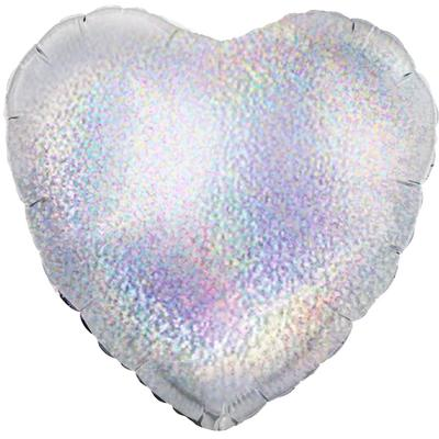 Oaktree 18inch Silver Holographic Heart (Flat) - Foil Balloons