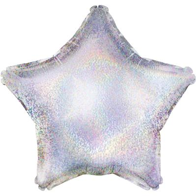 Oaktree 19inch Silver Holographic Star (Flat) - Foil Balloons