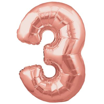 Oaktree 30inch Number 3 Rose Gold - Foil Balloons