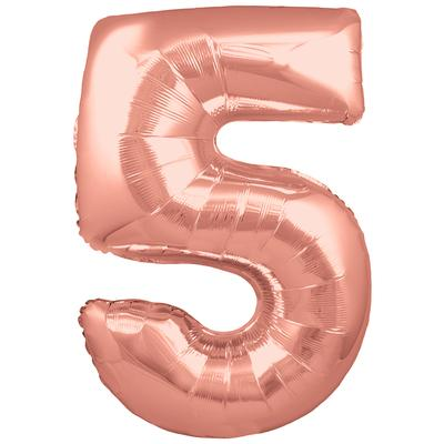 Oaktree 30inch Number 5 Rose Gold - Foil Balloons