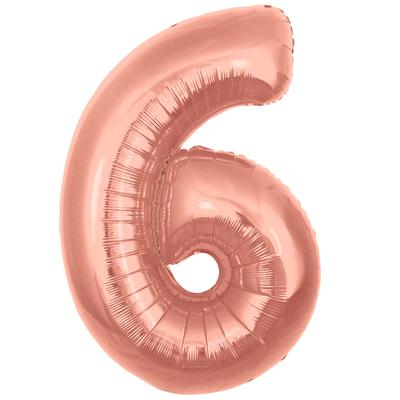 Oaktree 30inch Number 6 Rose Gold - Foil Balloons