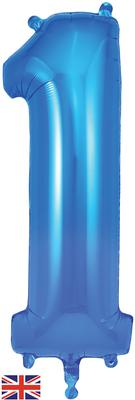 Oaktree 34inch Number 1 Blue - Foil Balloons