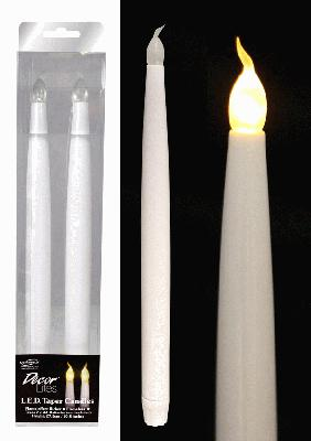 27.5cm LED Taper Candles with Flicker - 2pcs - L.E.D Lights