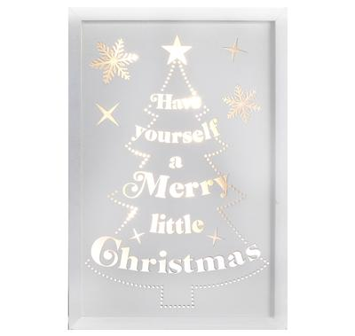 Décor Lites Wooden LED Box White Merry Little Christmas 20cm x 30cm x 3cm 2 x AA Battery - L.E.D Lights